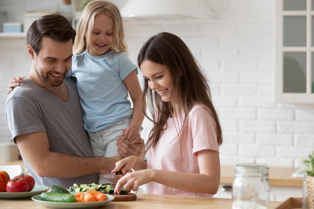 family making vegan lunch for school