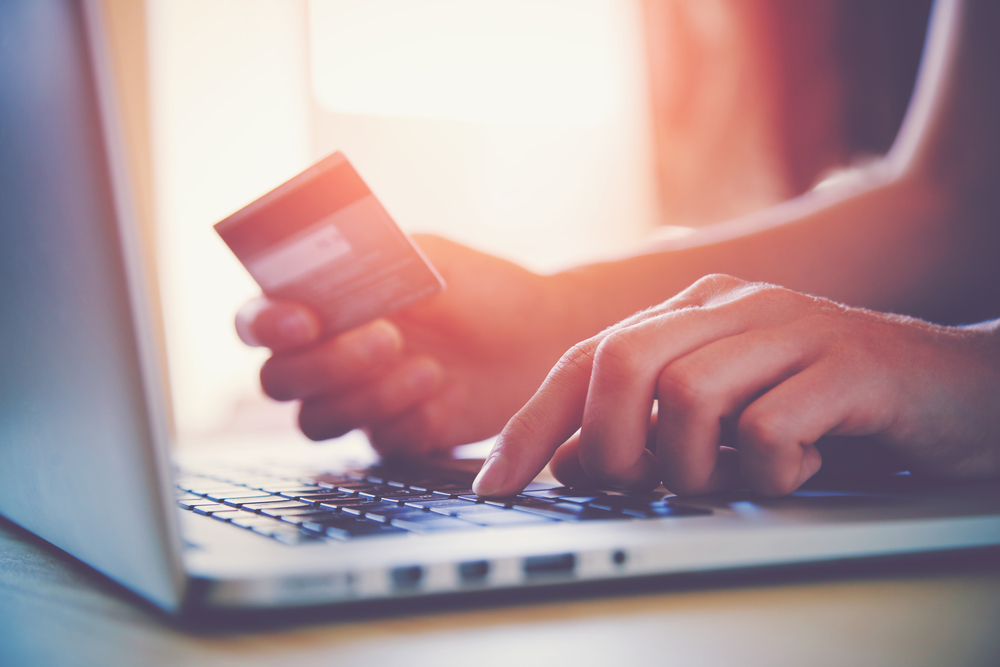credit card being used to make purchase online